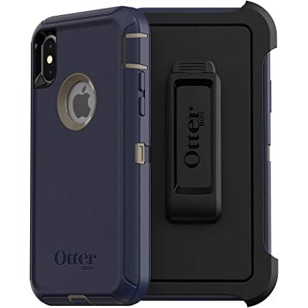 OtterBox DEFENDER SERIES SCREENLESS EDITION Case for iPhone Xs & iPhone X - Retail Packaging - DARK LAKE (CHINCHILLA/DRESS BLUES)