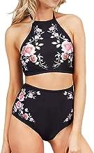 BOLAWOO-77 Mujeres Impreso De Cintura Alta Traje De Baño Dos Mode De Marca Tankinis Acolchado Halter Neck Bra Bikini Sets Mujeres Traje De Baño Moda Playa Traje De Baño