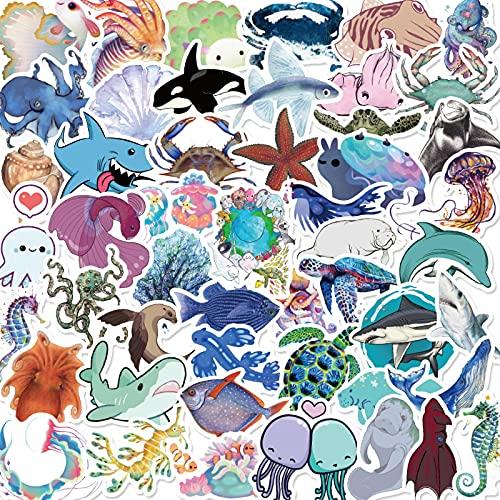 La vida marina personalizada Pvc impermeable etiqueta linda de dibujos animados medusas delfín taza cuaderno guitarra casco decoración etiqueta 50 unids