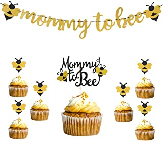 Mommy to Bee Gold Banner Glitter Bumble Bee Cupcake Toppers Mommy to Bee Cake Topper Cake Decorations Topper Set for Bee Themed Birthday Party Baby Gender Reveal Party Baby Shower Supplies