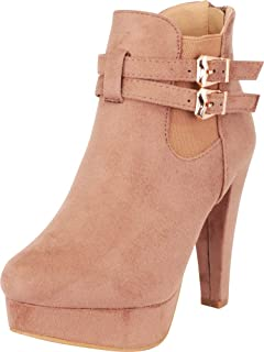 Cambridge Select Women's Strappy Buckle Chunky Platform High Heel Ankle Bootie
