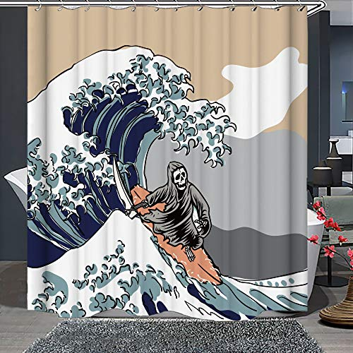 Whim-Wham Funny Skull Big Waves Shower Curtain Surf Gray Grey Mountain Blue Sea Sickle Skeleton Death's Head Bathroom Decor Curtain Set with 12 Hooks.