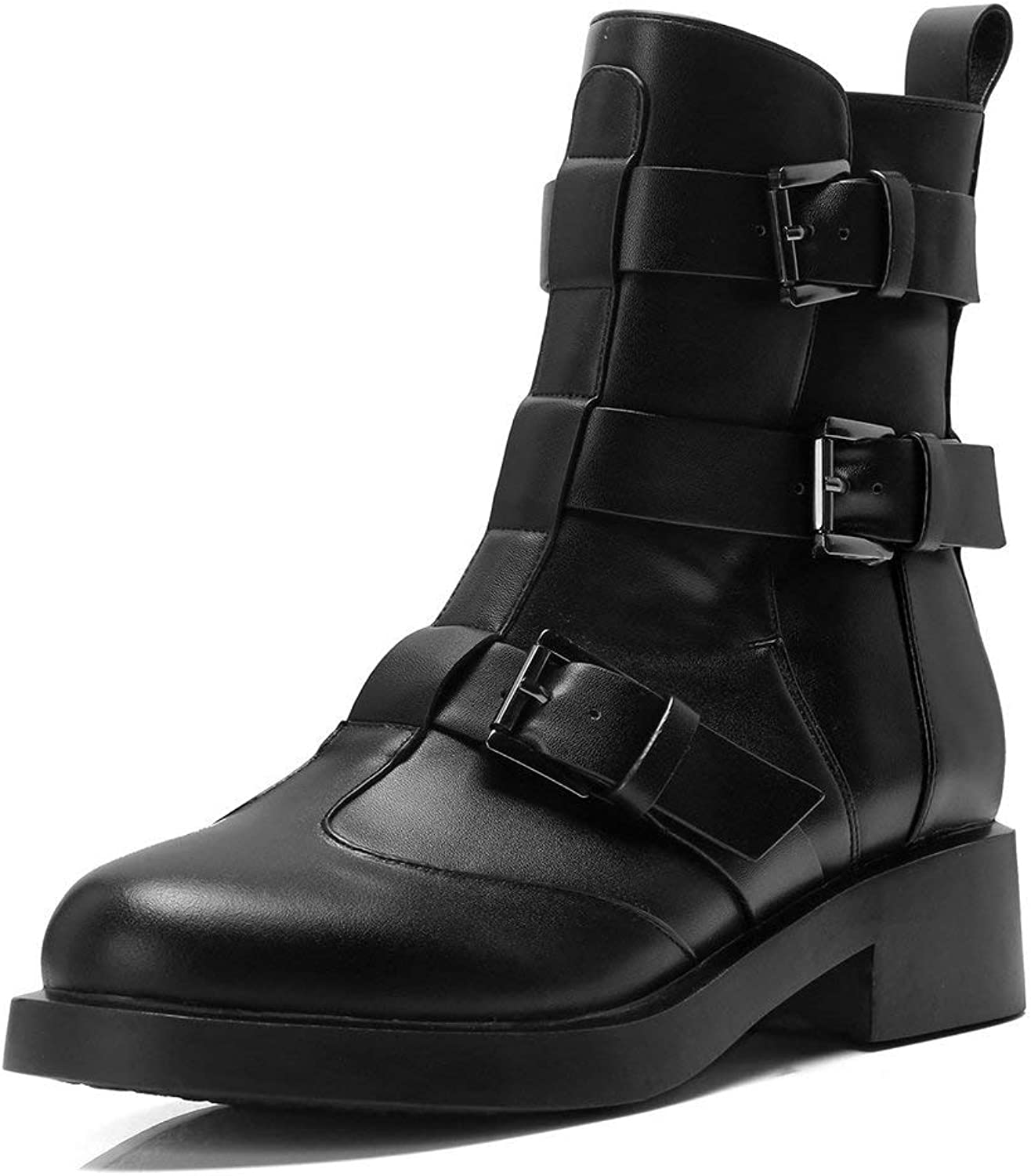 AnMengXinLing Ankle High Motorcycle Boot Women Low Block Heel Suede Leather Buckle Strap Combat Boot Slip On Biker shoes