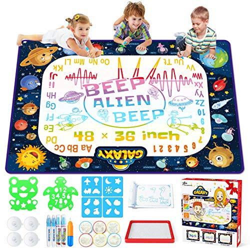Jasonwell Aqua Magic Doodle Mat  48 x 36 Inches Large Water Drawing Doodling Mat Painting Writing Doodle Board Coloring Mat Educational Toys Gift for Kids Toddlers Age 3 4 5 6 7 8 Year Old Girls Boys