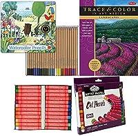 Land Trace Learnパステル24色アーティストセット+風景ブック、さまざまなシーンを彩る学習/ステップバイステップアウトドアテクニック+水彩鉛筆ブリキセット - 大胆な品質の水彩色
