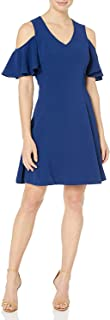 Lark & Ro Women's Dress Blue US Small S A-Line Flutter Cold Shoulder