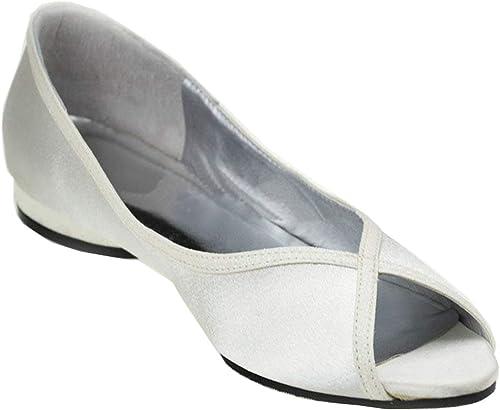 Qiusa Femmes Talons Bas Chaussures De Mariée Confortables Peep Toe Block Talon Bas (Couleuré   blanc-3cm Heel, Taille   4.5 UK)