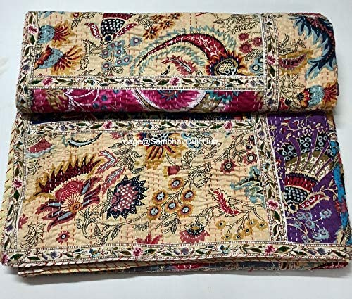 Indian Mukut Print Less Cotton Quilted Blanke Patchwork 送料無料激安祭 定番から日本未入荷 Handmade