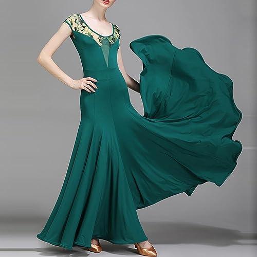 Wangmei Femmes Perforhommece Moderne Robes de Danse de Salon Fibre de Lait Imprimé Collier Manches Courtes Robe