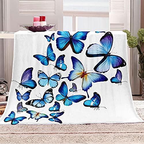 Manta De Cama 3D Mariposa Azul Manta Reversible Suave y Esponjosa De Lana Estampado Manta de Dormitorio para Cama Infantil Individual Matrimonio 150x200cm