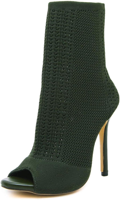 FengJingYuan Women's Boots, Openwork Fish Mouth Booties, Stilettos, Autumn and Winter, Woolen Socks