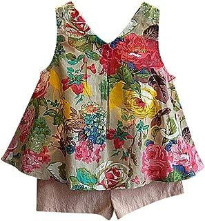 TIFENNY Girls Outfit Clothes Floral Vest T-Shirt+Shorts Pants Set