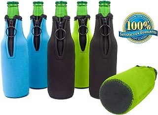 Boseen Beer Bottle Zipper Coolers - Pack of 6 Assorted Collapsible Insulators - Assorted Colors, Blue, Black, Green