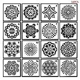 GUMEI 16 unids/Set Plantillas de Pintura de Mandala para grabación en Relieve de álbum de Recortes de Rock DIY
