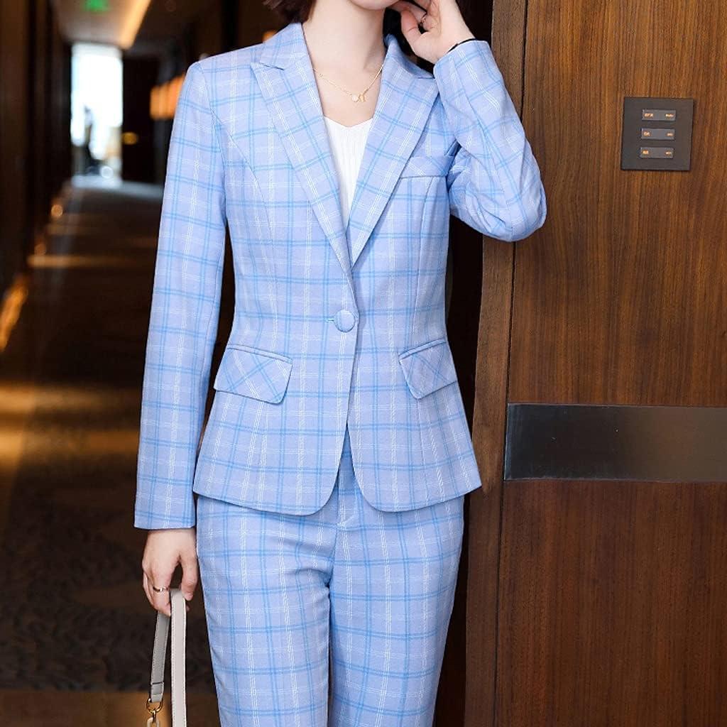 NJBYX Plaid Women Blazer and Pant Suit Trouser Ladies Female Formal Office Work Business 2 Piece Set (Color : B, Size : 3XL code)