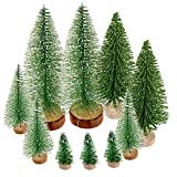 Yiphates 10 Pcs Mini Christmas Tree Bottle Brush Christmas Trees Artificial Sisal Tabletop Sisal with Wood Base for Christmas Party Home Decoration(4 Sizes, Green)