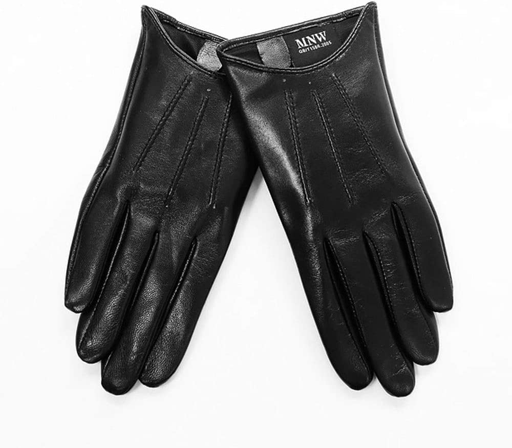 Swftc Women Leather Brown Black Gloves Single Leather Unlined Thin Section Summer Driving Goatskin Driver Gloves High Grade Leather Gloves Women Sheepskin Spring and Autumn Section Mitten
