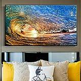 ganlanshu Surf mar Olas mar Colorido Sol Deporte Surfista Pared Arte Cartel Lienzo Imagen impresión Arte,Pintura sin Marco,30x60cm