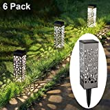 MAGGIFT 6 Pack Outdoor Solar Pathway Lights Stainless Steel Solar LED Walkway Lights 8 Lumen Bright Solar Garden Lights, Patio Lawn Yard Driveway Landscape Christmas Holiday Decorations, Warm White