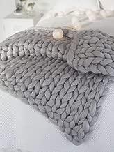 Yijiujiuer Chunky Knit Blanket Giant Throw Merino Wool Yarn Hand Made Bed Sofa Chair Mat (Light Grey 32