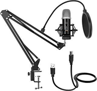 GUDEHOLO USB Microphone for Computer with Adjustment Arm Stand, Mute Button, USB Mic for Gaming,...