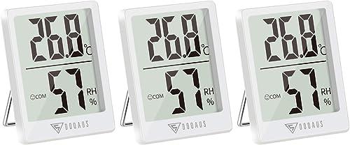 DOQAUS Mini Thermomètre Intérieur, 3 Pièces Hygrometre Interieur de Haute Précision, ℃/℉Commutable, pour Détecter hum...