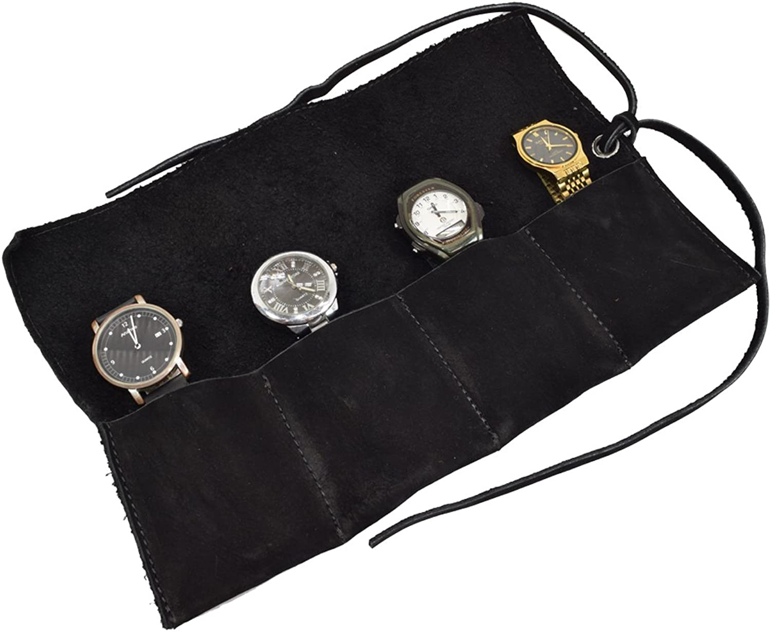 Hide & Drink Soft Leather Travel Watch Roll Organizer Holds Up To 4 Watches Handmade by Charcoal Suede
