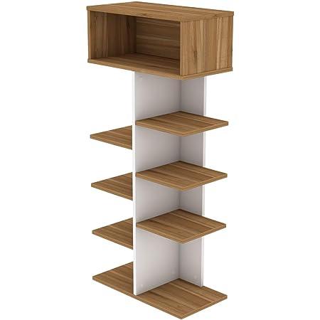 Homcom Biblioth/èque Banc 2 en 1 Design Contemporain 6 casiers 3 Coussins fournis 102L x 30l x 61H cm Blanc Gris chin/é