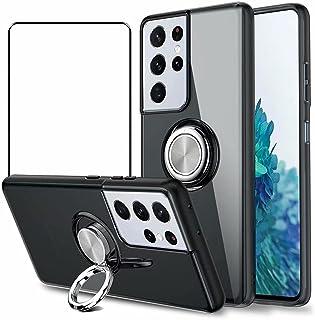 جراب Doao Asus Zenfone 8، جراب واقٍ بمسند دائري 360 درجة، مع واقي شاشة من الزجاج المقوى لهاتف Asus Zenfone 8 - أسود