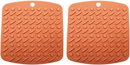 Cabilock 2pcs Silicone Pot Holders Heat Resistant Non-slip Trivet Mats Hot Pads Multipurpose Trivet For Home Use (Brown)