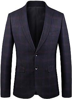 Men's Black Grid Suit Jacket Regular Fit Peak Lapel Business Blazer Two Buttons Spring Winter Coat