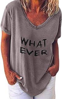 Shusuen Women's Summer Short Sleeve Tops Casual Loose Letter Print T Shirt Tunics Round Neck