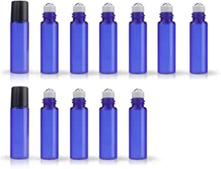 5ML(1/6oz) Cobalt Blue Glass Roller Refillable Bottles with Stainless Steel Roller Ball for Essential Oil Aromatherapy Perfumes (12 Pack) (Blue)