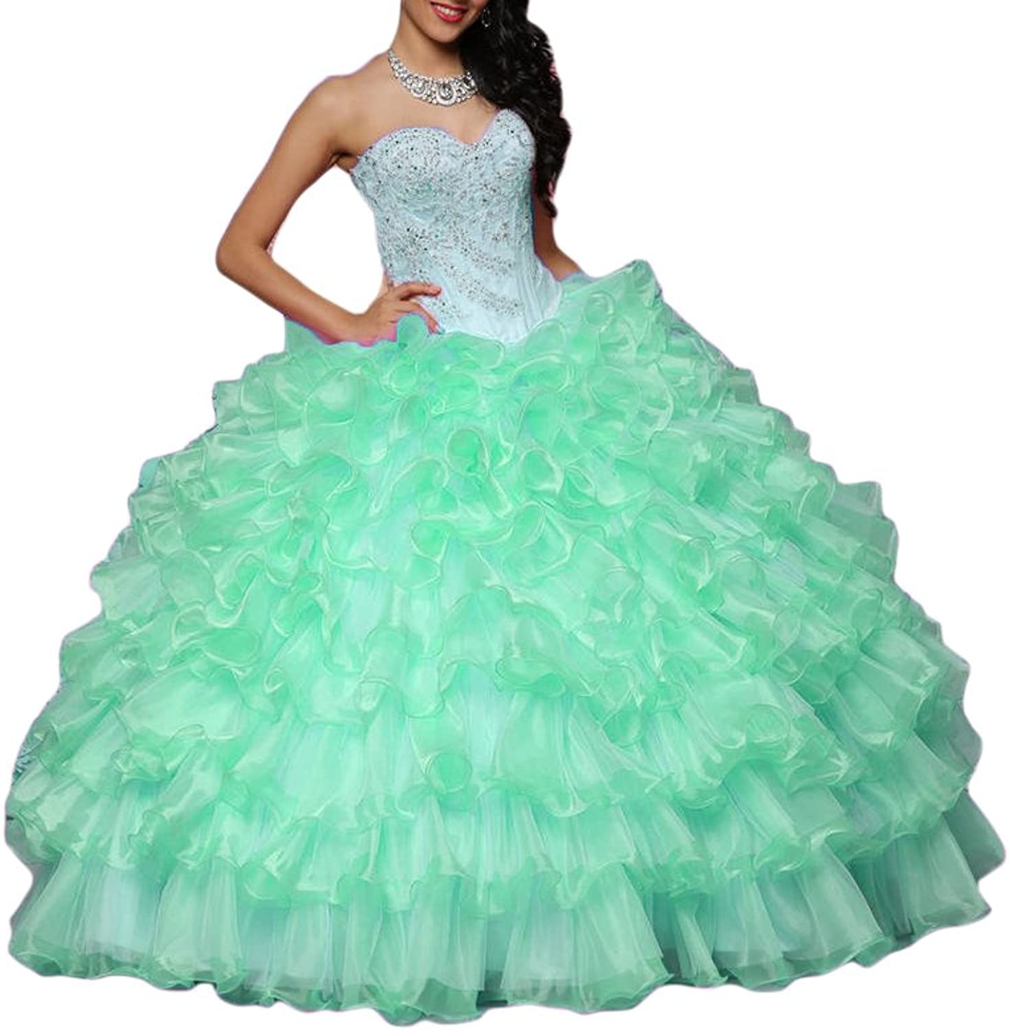 DKBridal Women's Sweetheart Beaded Long Prom Gown Ruffles Quinceanera Dresses