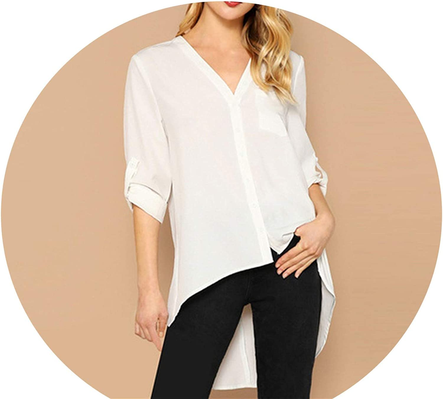 AllAboutUs Beige Single Pocket Roll Tab Sleeve Asymmetric Hem VNeck Blouse Women Summer Workwear