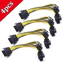 REYOK 8 Pines PCI Express a 2 X PCIe 8 (6 + 2) Pines y 6 Pines Motherboard Tarjeta gráfica de Video PCI-e GPU VGA Y-Splitter Hub Cable de alimentación (4 Paquetes)