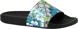 Bloom Print Blue Supreme GG Canvas Flower Slide Sandals 407345 8498