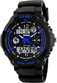Kids 50M Waterproof Digital Sports Watch, Boys Girls Led Outdoor Watches Children Casual Electronic Shock Resistant Analog Quartz Wrist Watches with Alarm Stopwatch