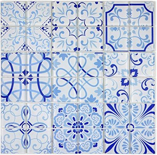 Retro Vintage Mosaik Fliese Transluzent blau Glasmosaik Crystal MALTA für WAND BAD WC DUSCHE KÜCHE FLIESENSPIEGEL THEKENVERKLEIDUNG BADEWANNENVERKLEIDUNG Mosaikmatte Mosaikplatte