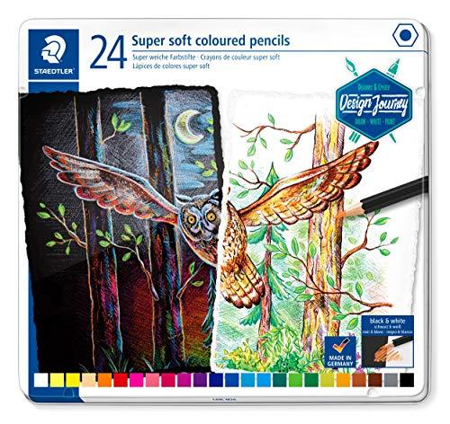STAEDTLER 149C M24 Buntstifte (klassisches Sechskantformat, super weiche Mine, hohe Deckkraft auf hellem und dunklem Papier) Metalletui mit 24 leuchtenden Farben