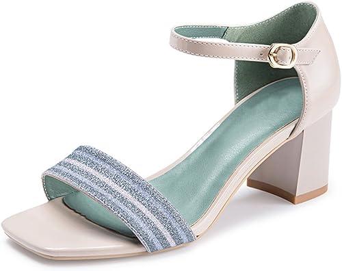 JIANXIN La Mode Printemps Et été des Femmes Et Un Mot De Sandales avec des Talons Hauts Et des Chaussures pour Femmes. (Couleur   Bleu, Taille   35)