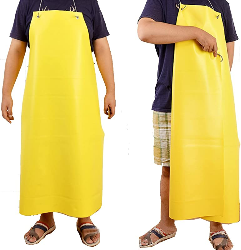 Vinyl Waterproof Apron Chemical Resistant Bibs Durable Ultra Lightweight Extra Long Full Length Dish Washing Aprons WQ04 Standard Size Yellow