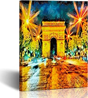 Armko Canvas Wall Art Prints Car Illuminated Triumphal Arch Paris Artwork Night Oil at Painting Travel 12 x 12 Inches Wooden Framed Painting Home Decor Bedroom Office