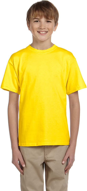 By Hanes Youth 52 Oz, 50/50 EcoSmart T-Shirt - Yellow - XS - (Style # 5370 - Original Label)