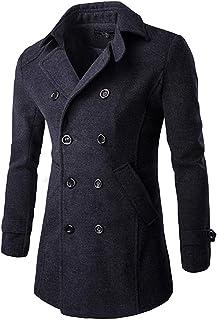 Targogo Cappotto Invernale da Uomo Cappotto Invernale Lungo Giacca Tasche Abbigliamento Laterali Vintage Manica Lunga Risv...