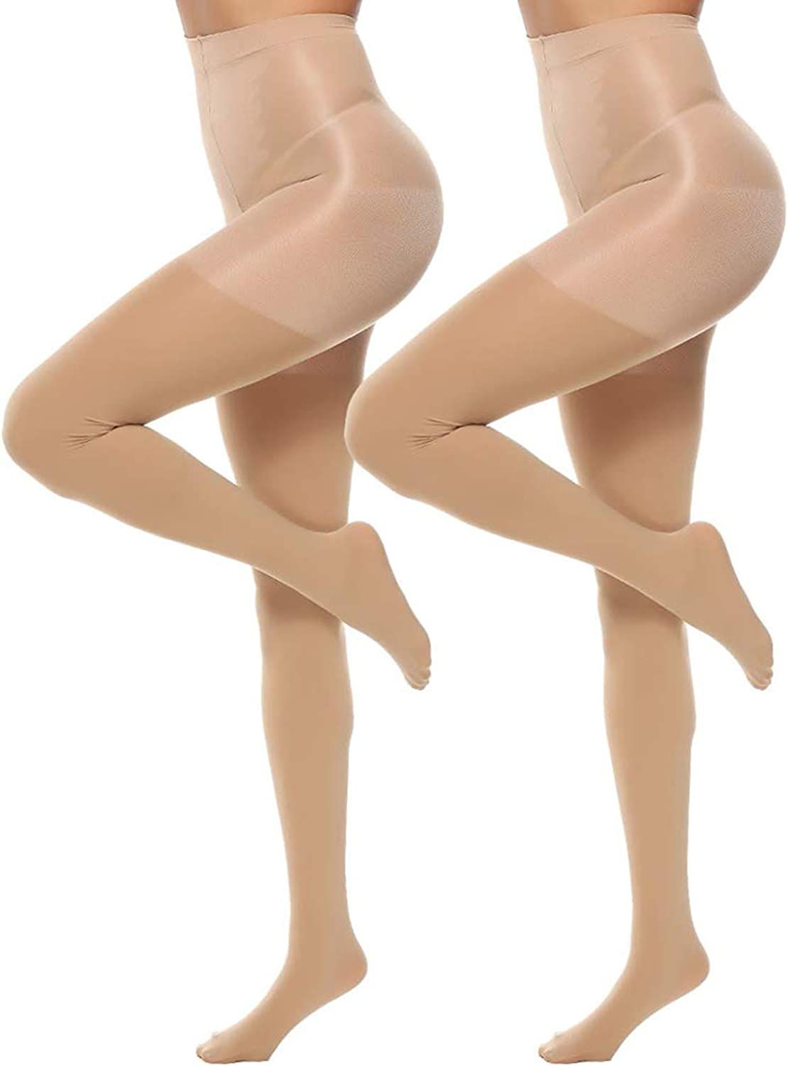 MANZI 2 Pairs Control Top Tights for Women 70D High Waisted Opaque Tights