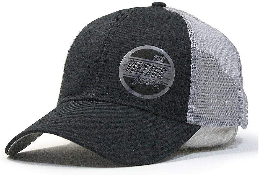 The Vintage Year Plain Cotton Twill Mesh Adjustable Snapback Low Profile Baseball Cap