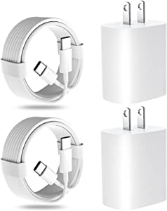 20W USB C Fast Charger for iPad Pro 12.9 in 5th/4th/3rd Generation,iPad Pro 11 inch 2021/2020/2018, iPad Air 4th Gen,Google Pixle,Samsung Galaxy S21,Wall Charger Block with 2 Pack 6.6ft USB C-C Cables