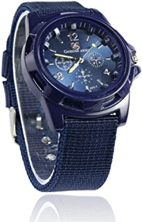 Quaanti 2018 New Aimecor Fashion Gemius Army Racing Force Military Sport Men Officer Fabric Band Watch New Dropshipping (Blue)