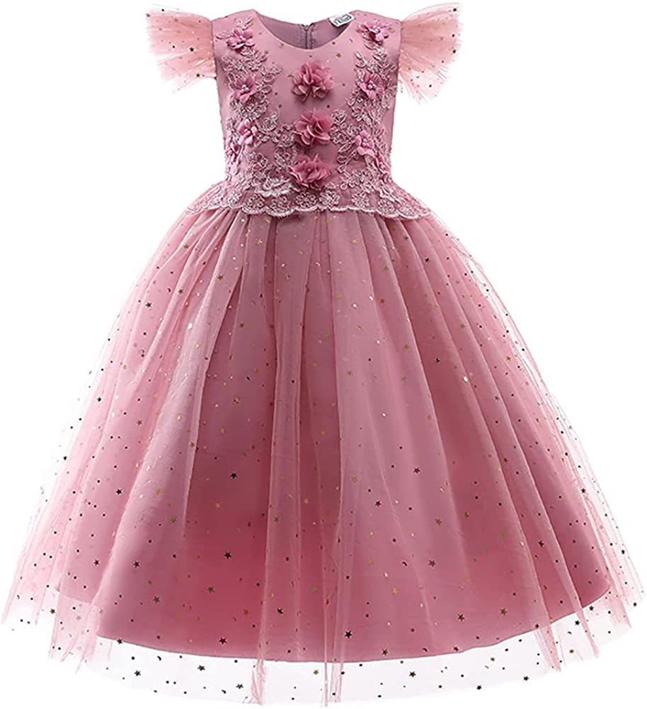 Big Kids Girl Floral Lace Dress Max 58% OFF Bowknot Princess Tulle Sequins D Ranking TOP2